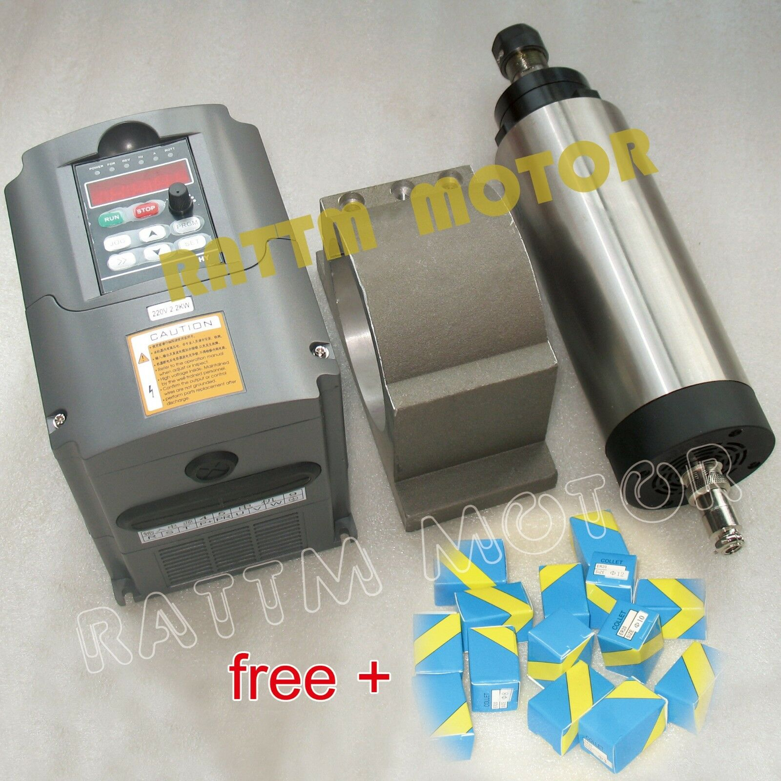 Cnc 2 2kw Air Cooled Spindle Motor Vfd Inverter Clamp
