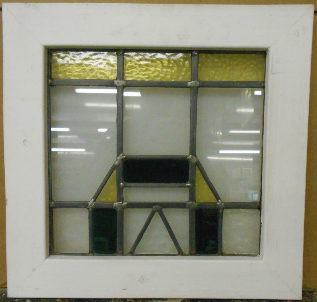 """OLD ENGLISH LEADED STAINED GLASS WINDOW Nice Geometric Design 18"""" x 17.5"""""""