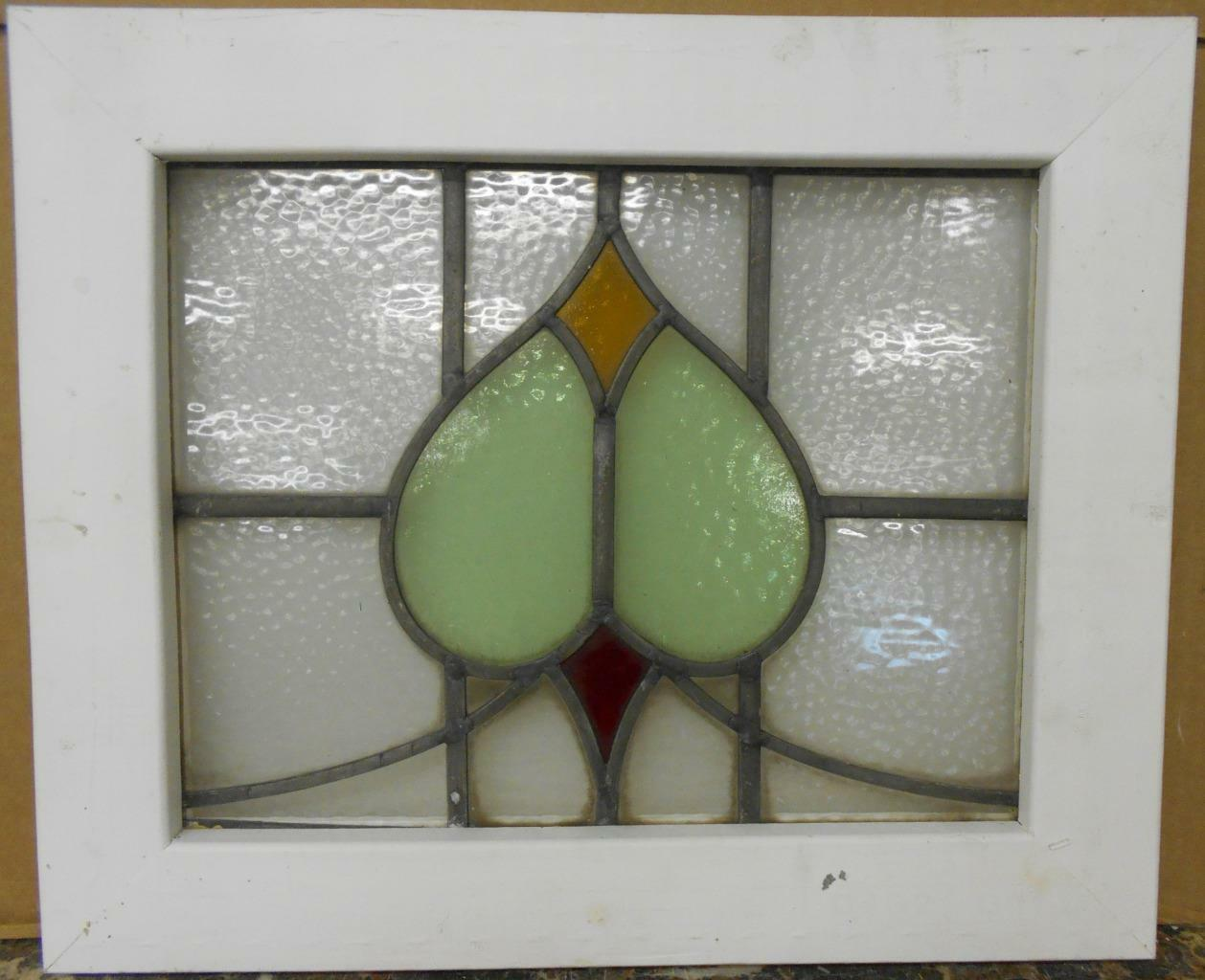 "OLD ENGLISH LEADED STAINED GLASS WINDOW Abstract Sweep Design 21"" x 17.25"""