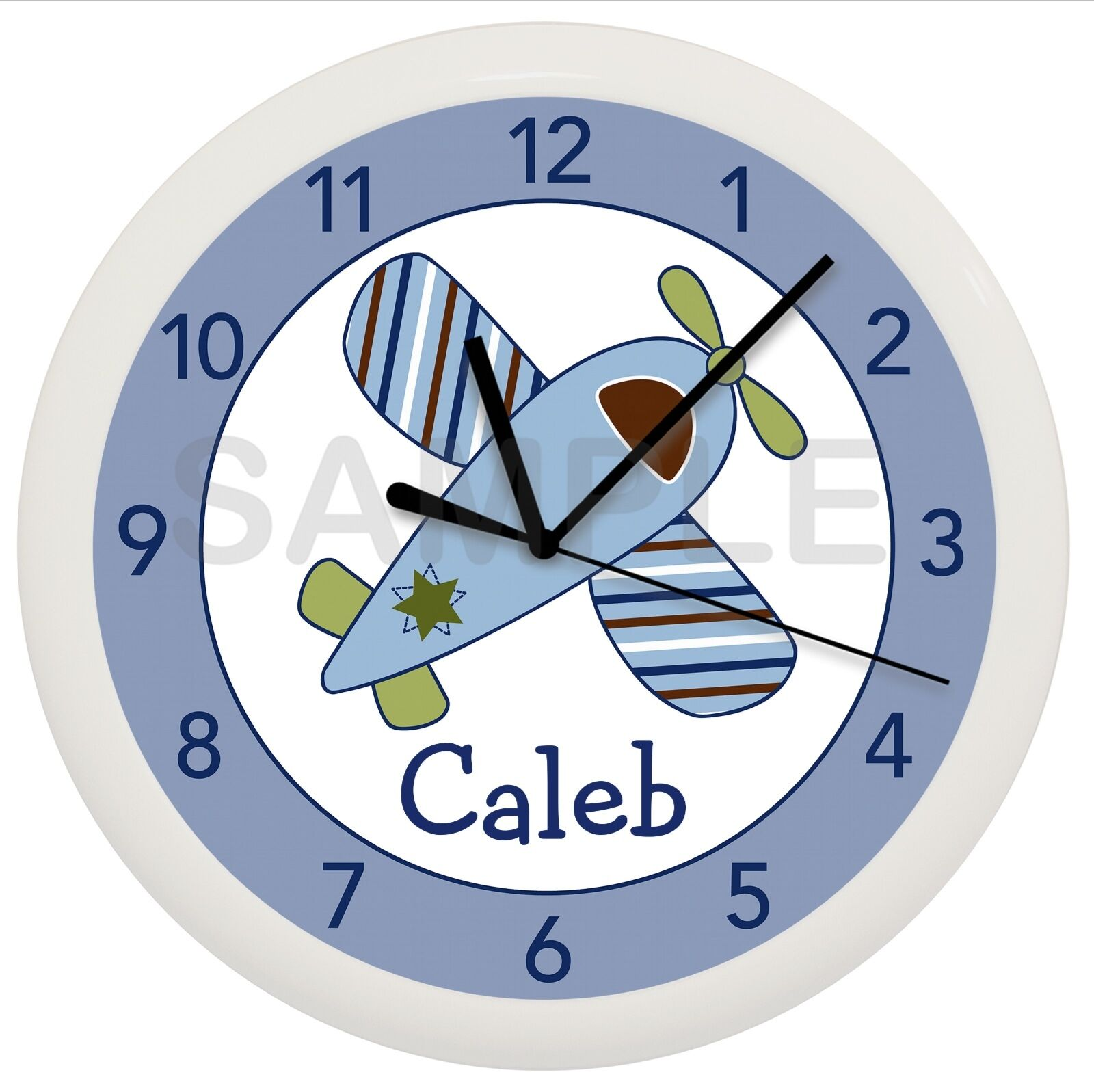 Little Aviator Nursery Wall Clock Personalized Baby Decor Gift Shower Airplane