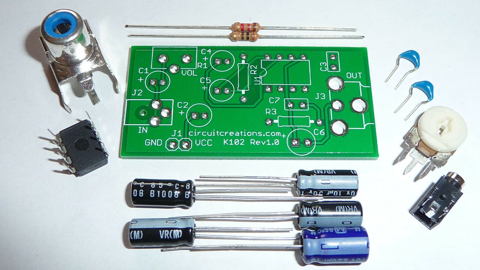 Audio Amplifier Electronic Kit W Pcb Lm386 With Adjustable Gain 2 Watts Stereo Using Three 1 Of 1only 4 Available
