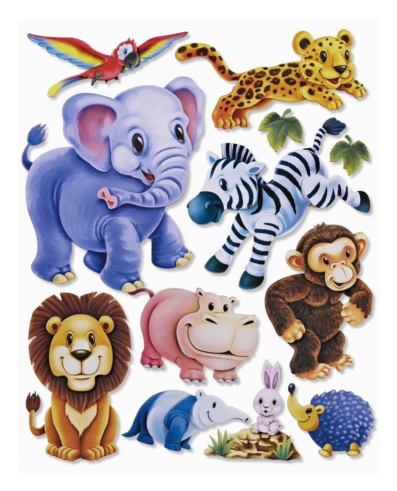 3d wandsticker zootiere elefant l we affe wandtattoo kinder sticker aufkleber eur 13 95 - Wandsticker elefant ...