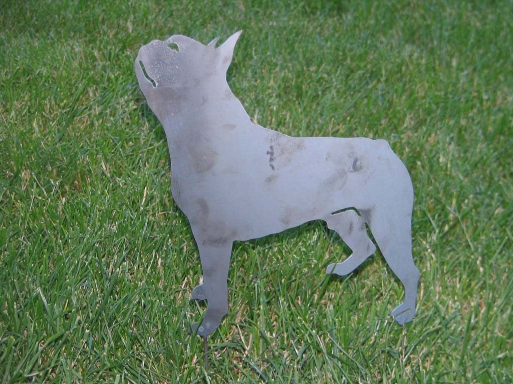 Boston Terrier Dog Yard Garden Art Statue Stake Home Decor Metal Steel 1 Of  1 See More