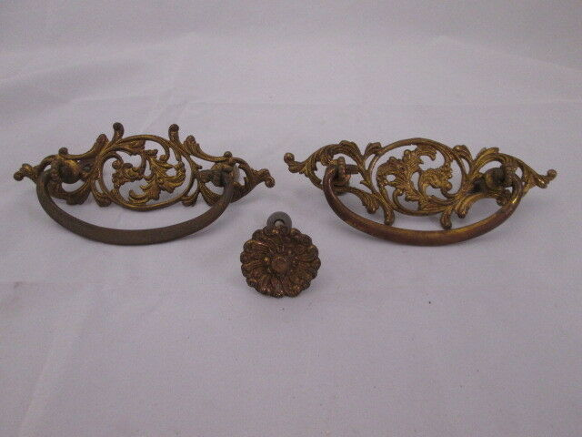 2 Antique Brass Decorative Drawer Pulls with Single Flower Style Knob