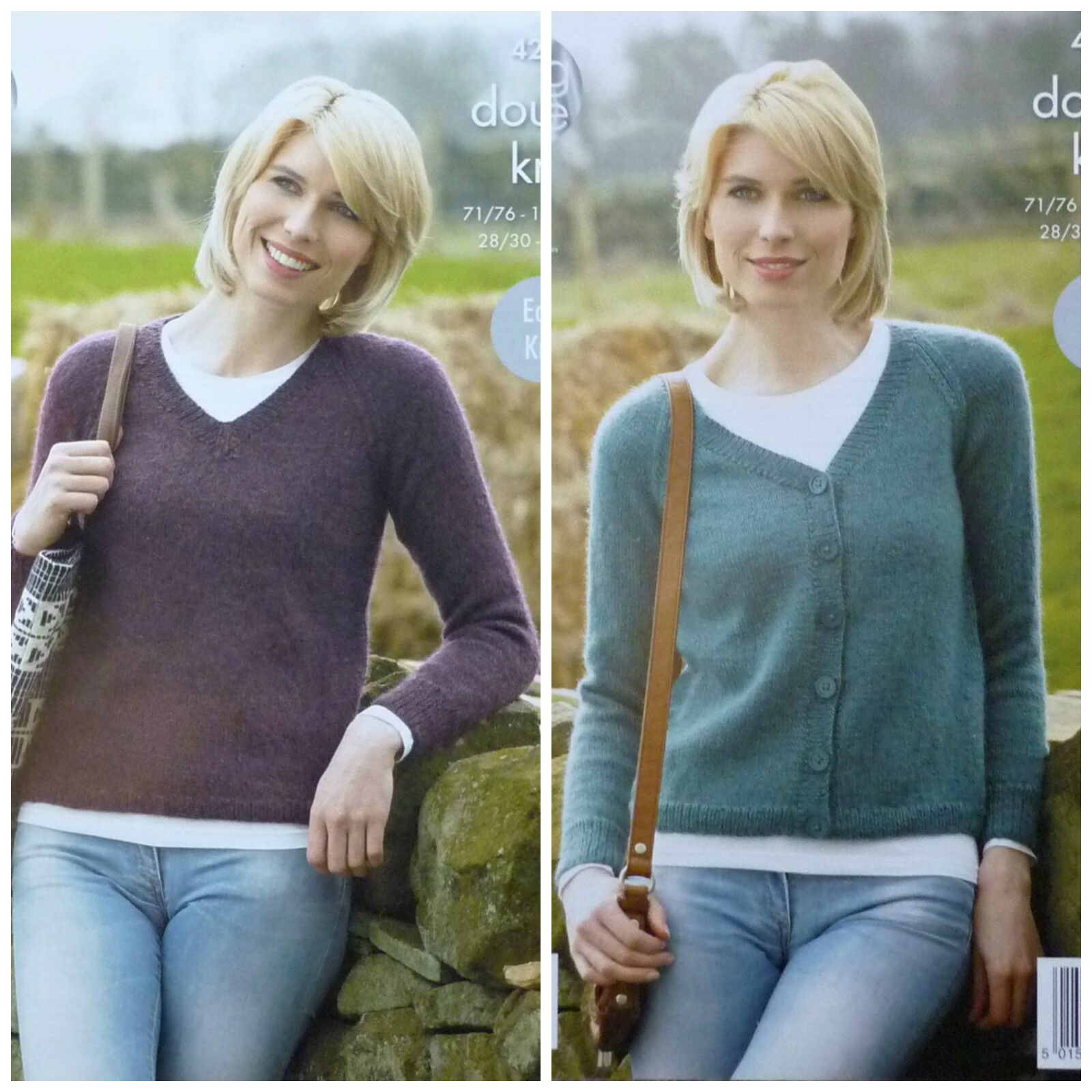 Knitting Pattern Ladies V Neck Jumper : KNITTING PATTERN Ladies EASY KNIT V-Neck Jumper & Cardigan DK King Cole 4...