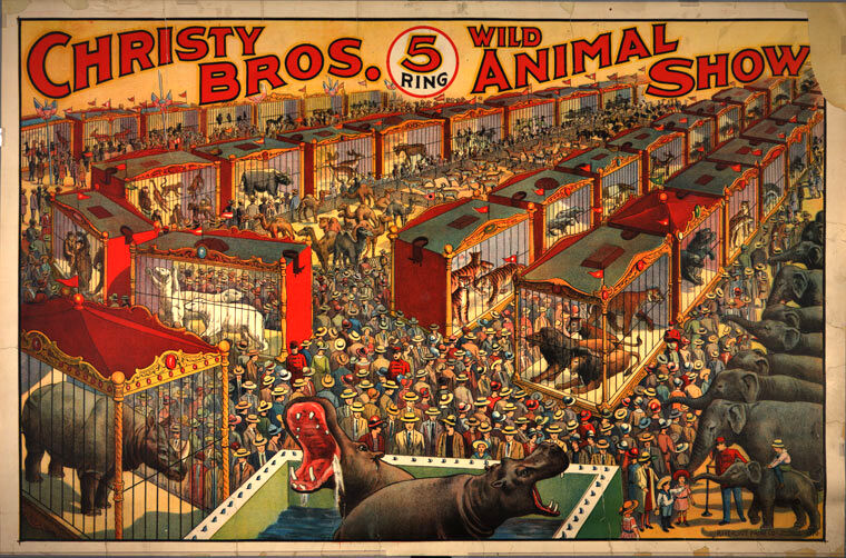 christy bros 5 ring wild animal show circus poster 1 500 00