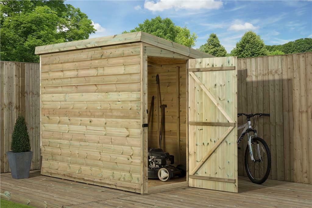 Garden shed 4x4 shiplap pent roof wooden tanalised for Garden shed 4x4