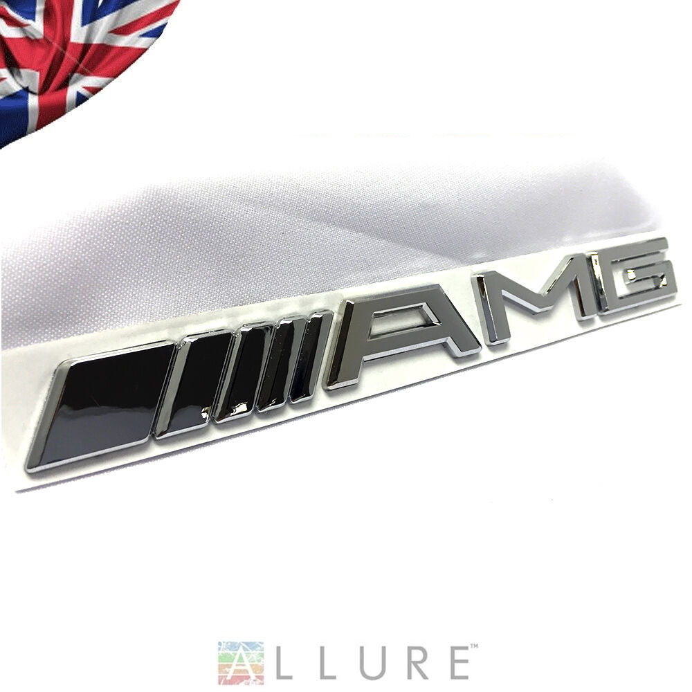 Amg chrome rear emblem badge mercedes benz a b c e s cl sl for Mercedes benz chrome accessories