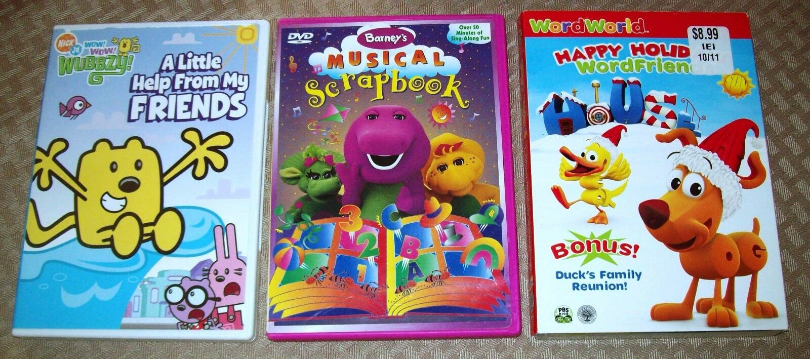 Lot Of 3 Dvd Barneys Musical Scrapbook Happy Holidays Wubbzy