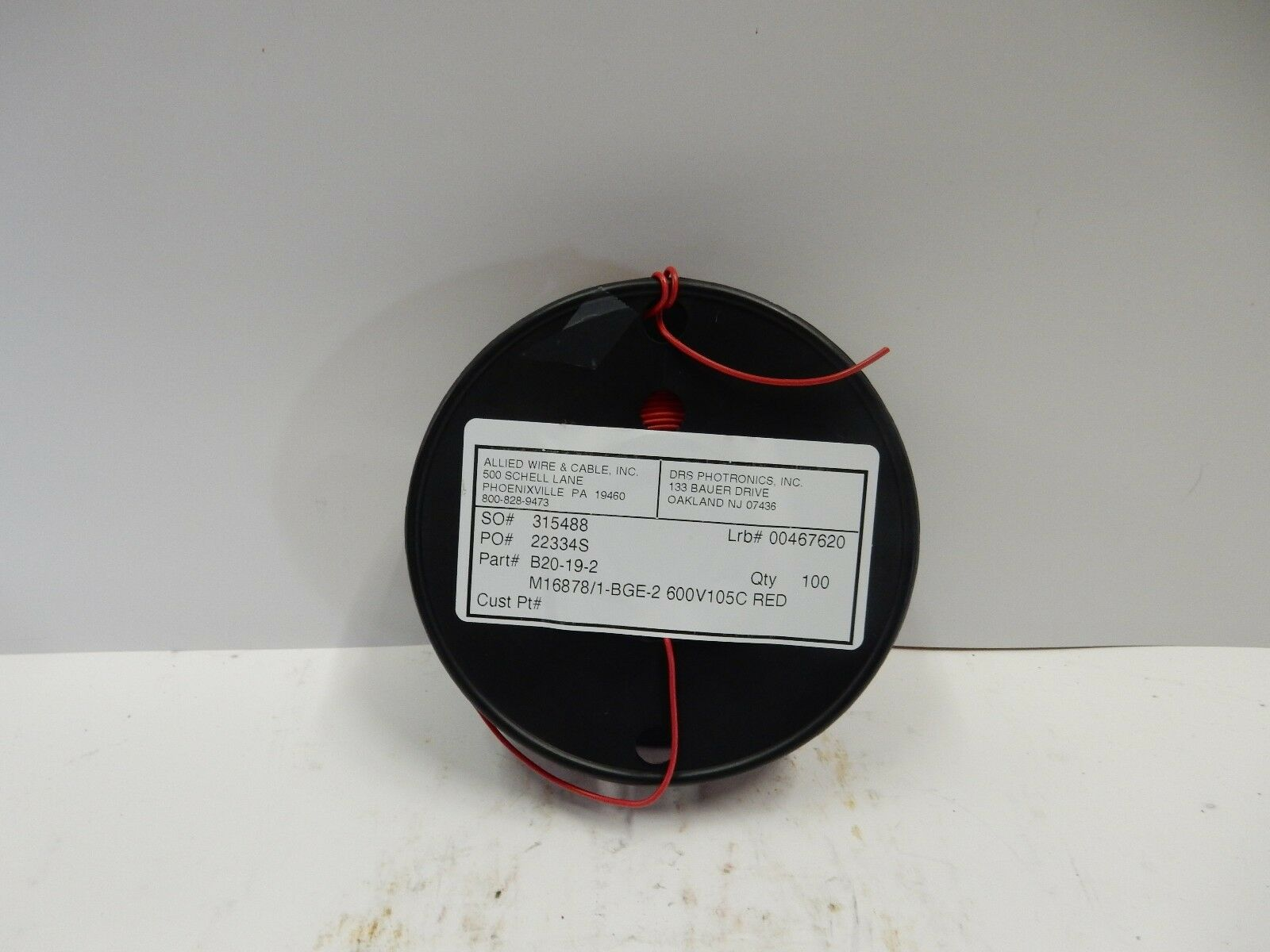 AWC MIL-SPEC WIRE M16878/1-Bge-2 20 Awg 100Ft. 600V 105C Red New ...