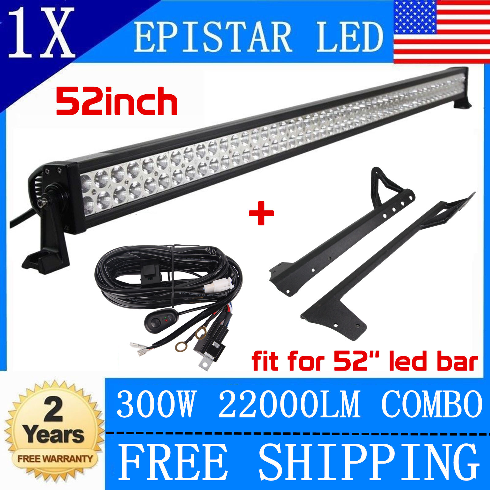 300w 52 Led Light Bar Mounting Bracket For Jeep Jk Wrangler Wiring 1 Of 10free Shipping