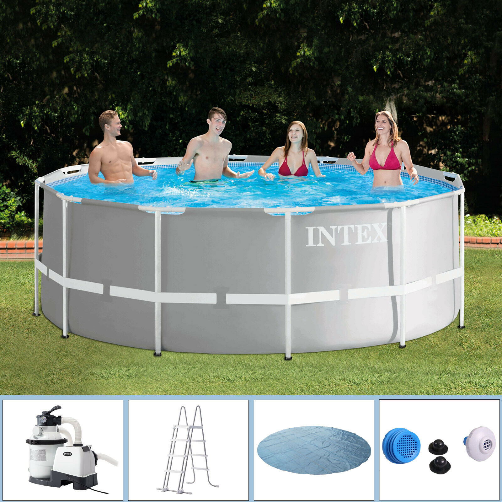 Intex 366x122 komplettset swimming pool schwimmbad frame metal stahlwand eur for Intex swimming pools australia