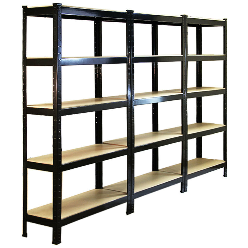 3 garage shelving racking heavy duty steel boltless warehouse unit 5 tier 75cm. Black Bedroom Furniture Sets. Home Design Ideas