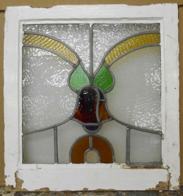 """OLD ENGLISH LEADED STAINED GLASS WINDOW Floral Bells 19.75"""" x 20.75"""""""