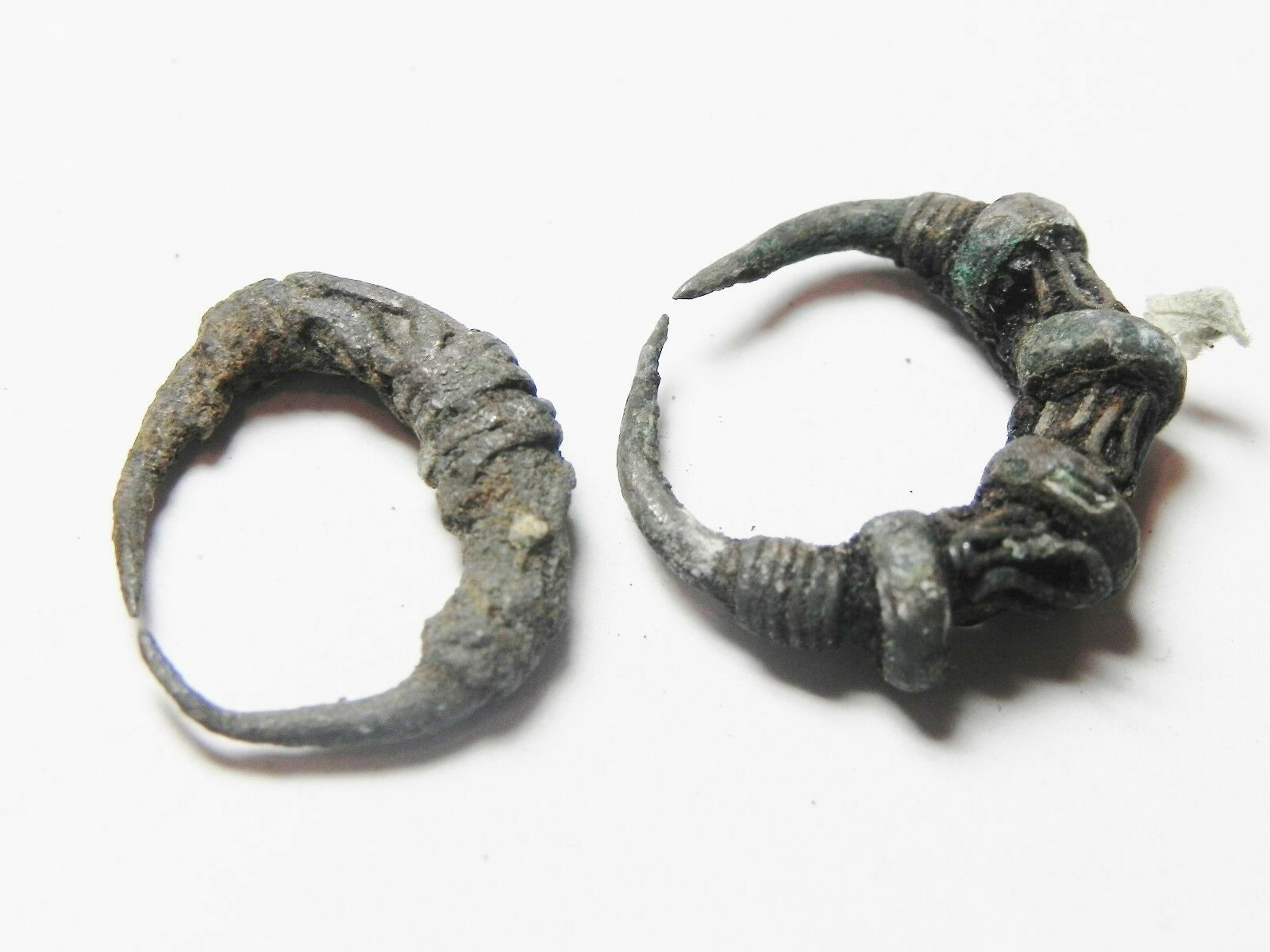 Zurqieh -51S- Ancient Egypt , Two Silver Earings. 600-300 B.c