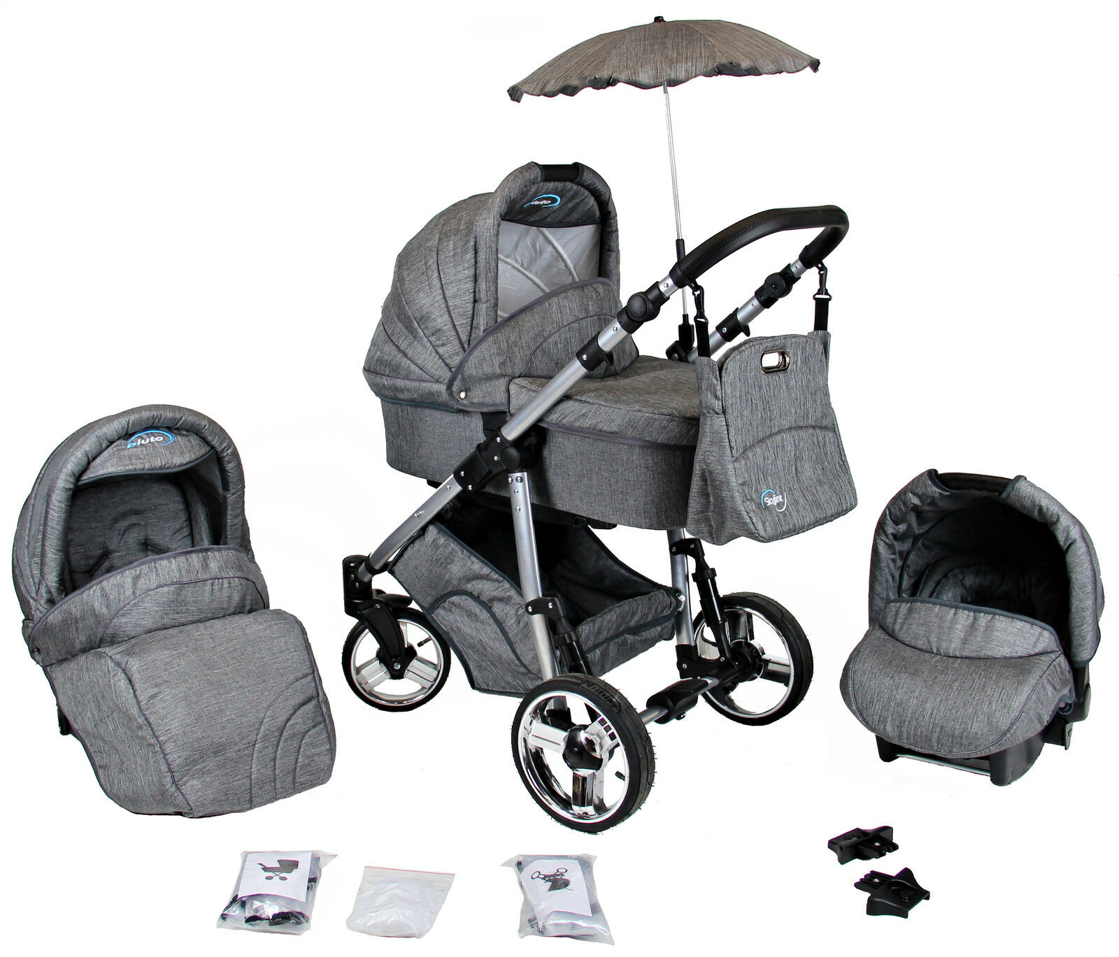 pluto kombikinderwagen kinderwagen mit babyschale poussette pram neu babywagen eur 338 00. Black Bedroom Furniture Sets. Home Design Ideas