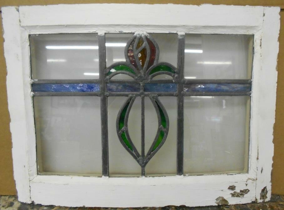 """OLD ENGLISH LEADED STAINED GLASS WINDOW Abstract Floral Design 20.75"""" x 15"""""""