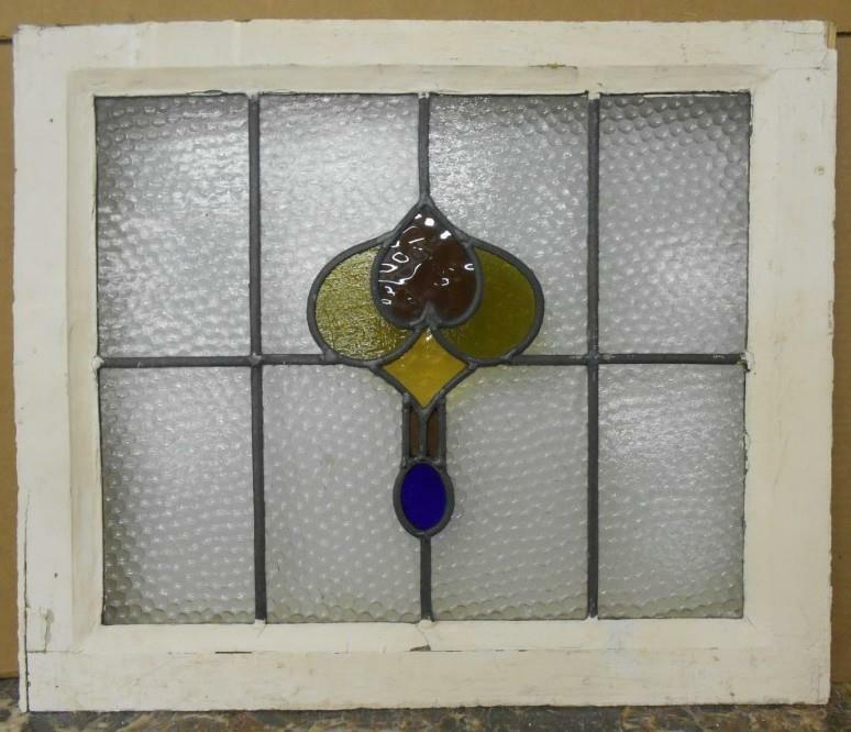 """MID SIZED OLD ENGLISH LEADED STAINED GLASS WINDOW Pretty Abstract 22.25"""" x 18.5"""""""