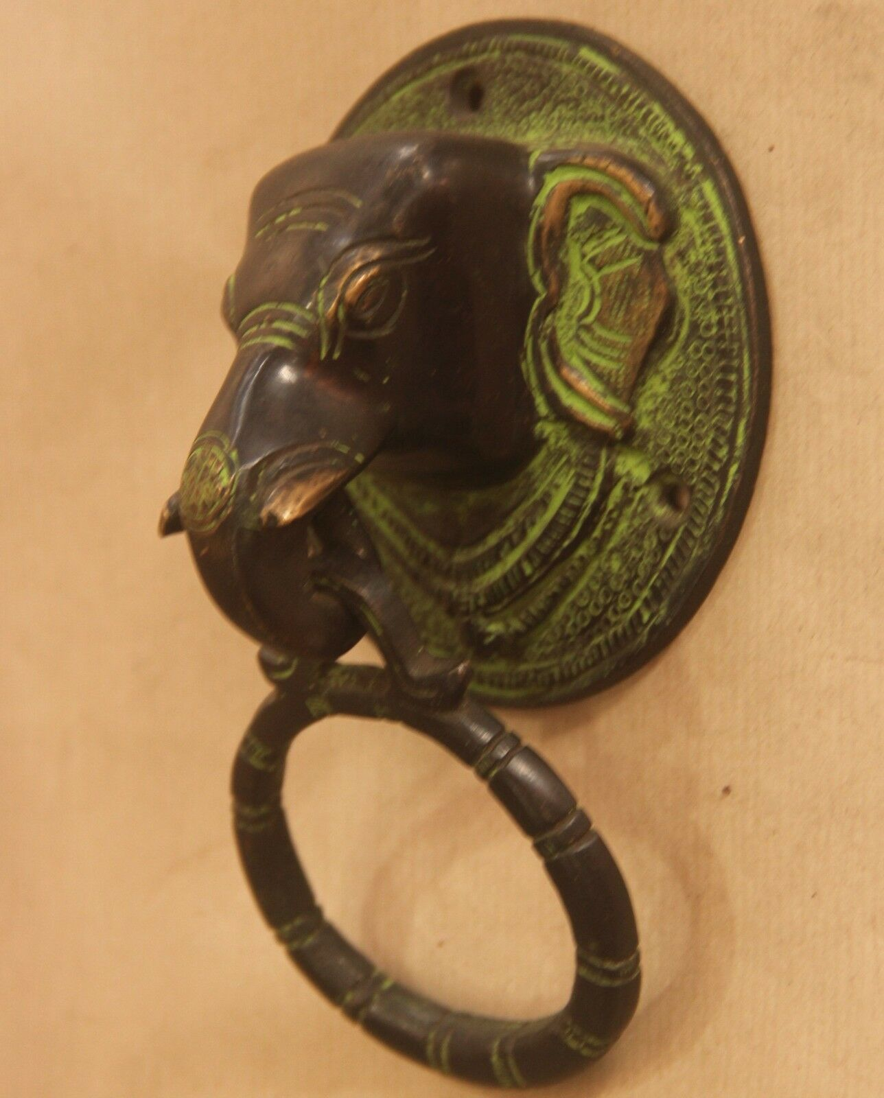 Brass Elephant Door Knocker Handle Vintage Antique Finish