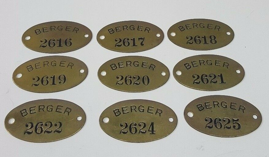9 Vtg Brass Tag Numbers Berger Industrial Steampunk Art Key #2616 & up