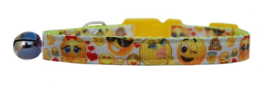 Handmade fabric Yellow Emoticon    safety kitten cat collar bell