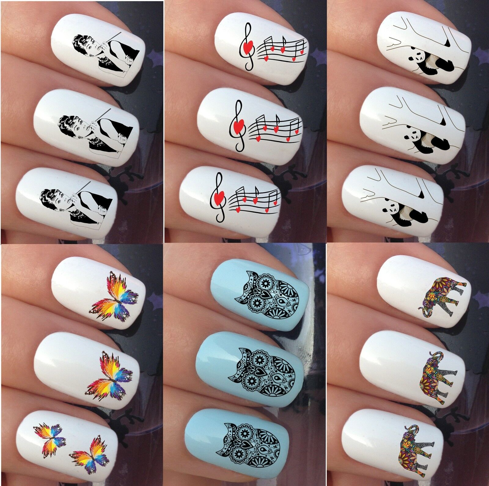 NAIL ART STICKERS Water Transfer Decals Wrap Panda Dog Butterfly Owl ...