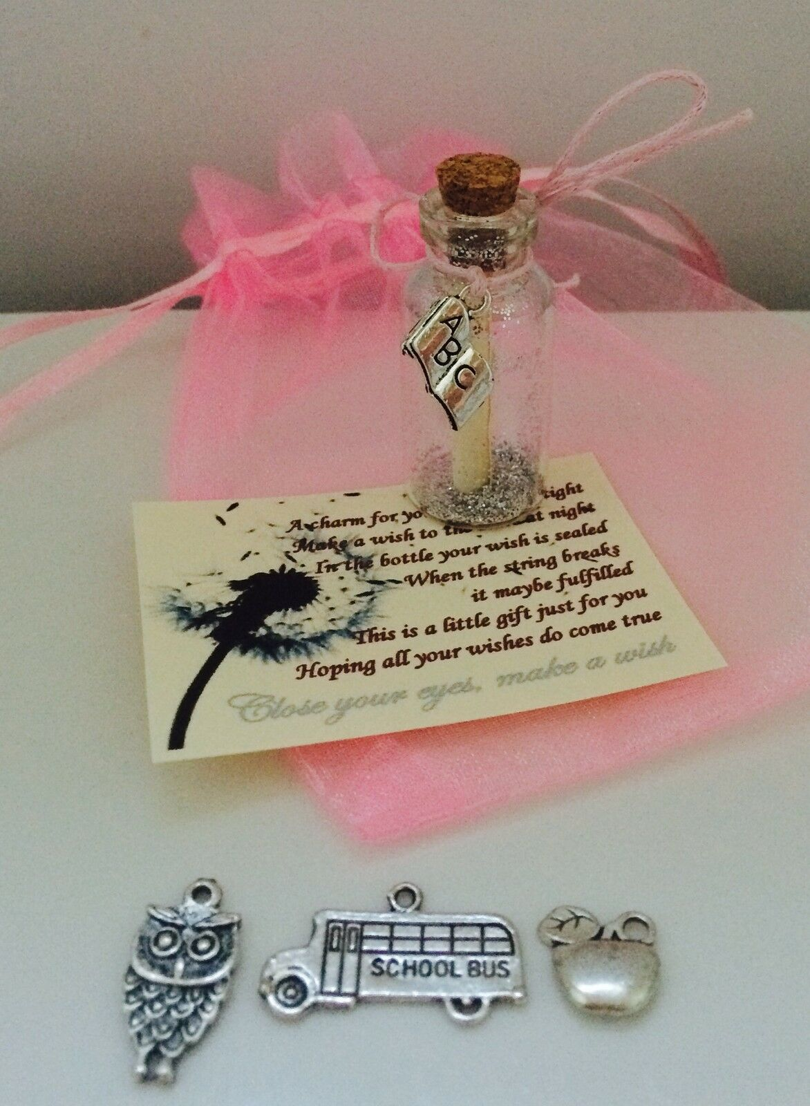 TEACHER LEAVING END Of Year Wish In A Bottle Charm For Keys Message ...