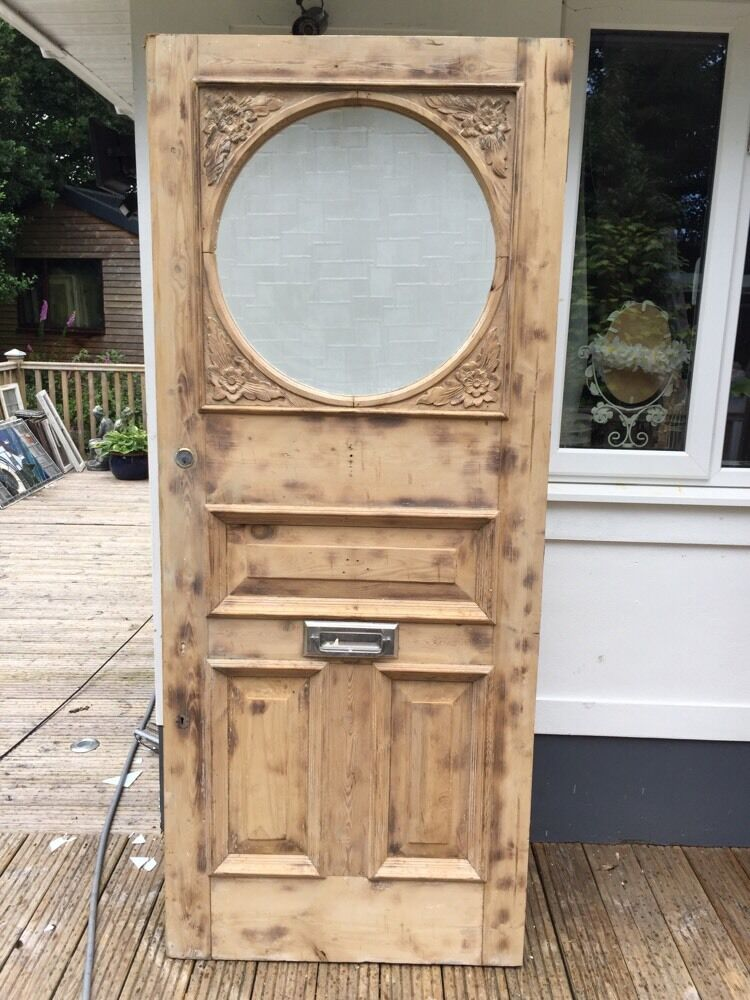 Large victorian edwardian front door wood reclaimed period for Large wooden front doors