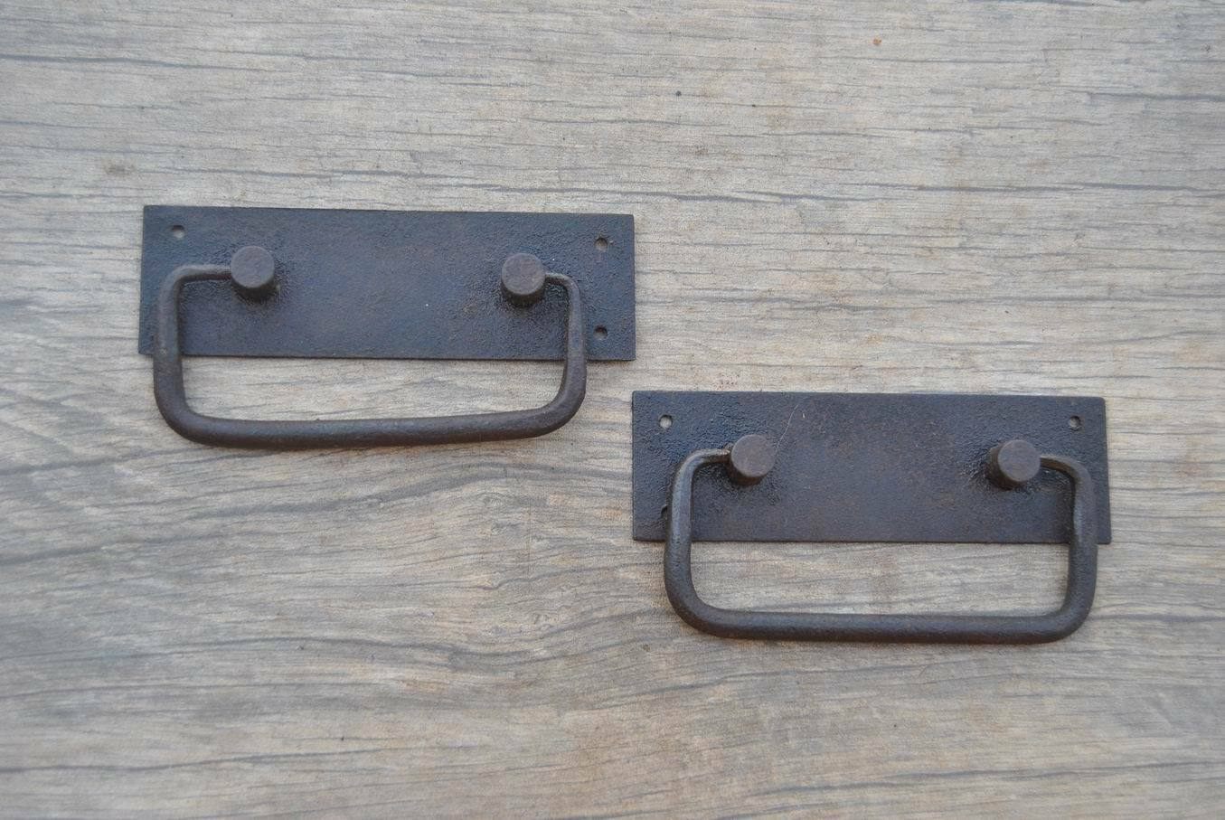 """VINTAGE Iron handforged Drawer Chest drop lifting handle w back plate 4"""""""
