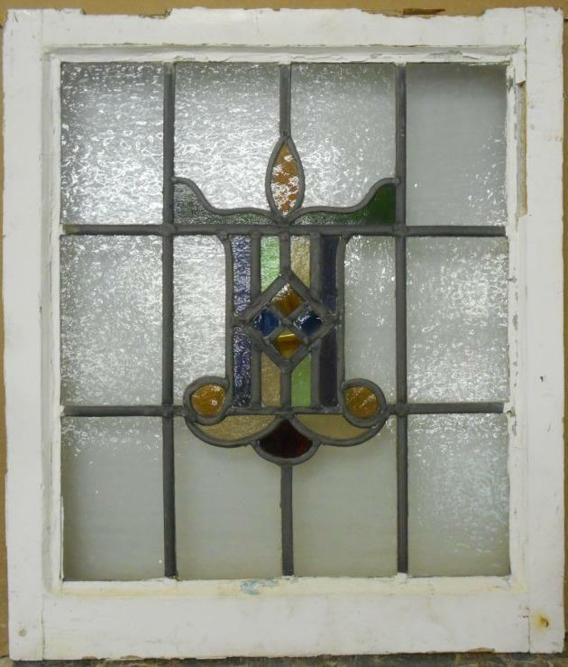 """MID SIZED OLD ENGLISH LEADED STAINED GLASS WINDOW Nice Abstract 20.75"""" x 23.75"""""""