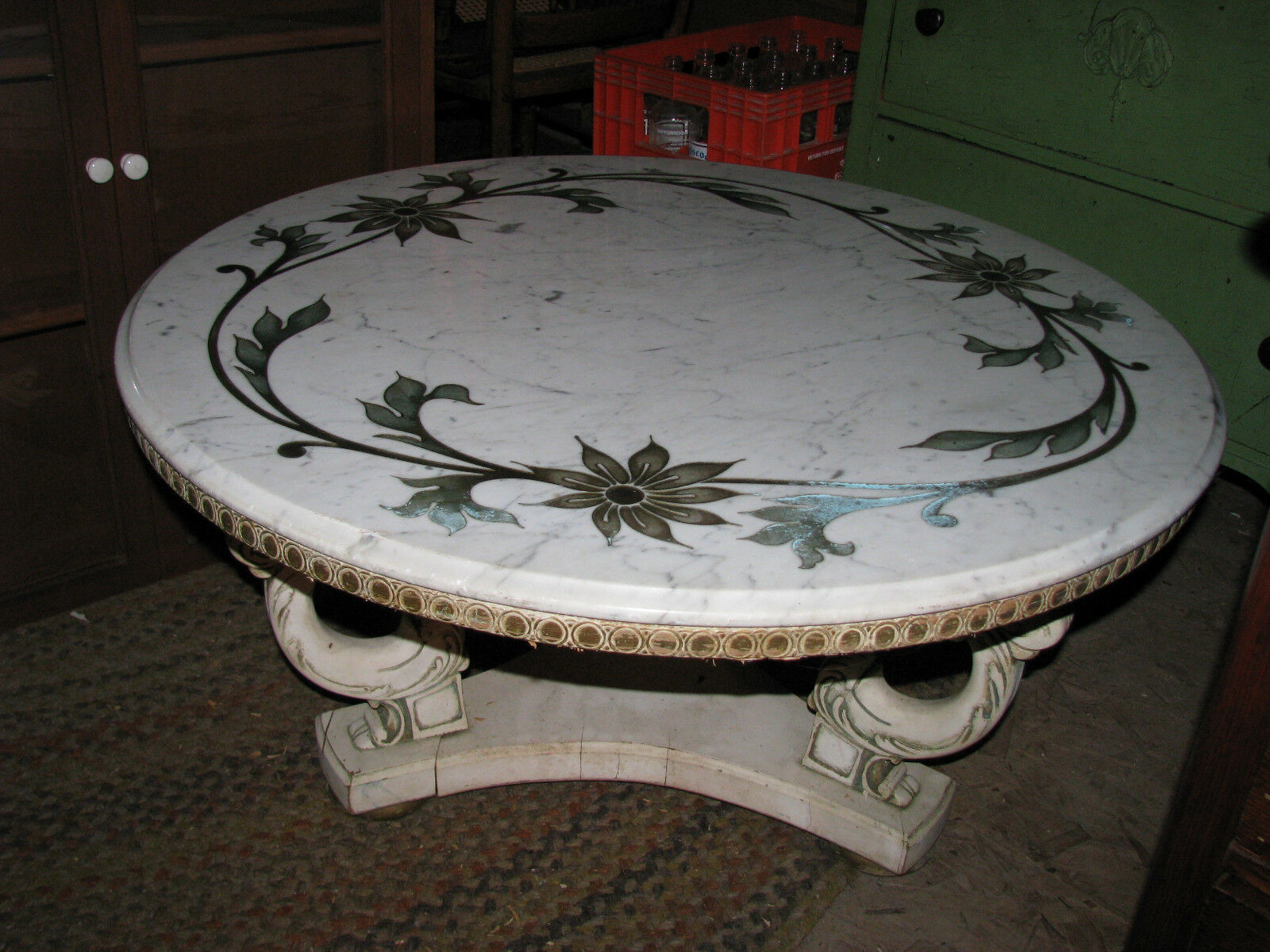 Antique Inlaid Marble Table : Vintage italian white marble top coffee table w brass