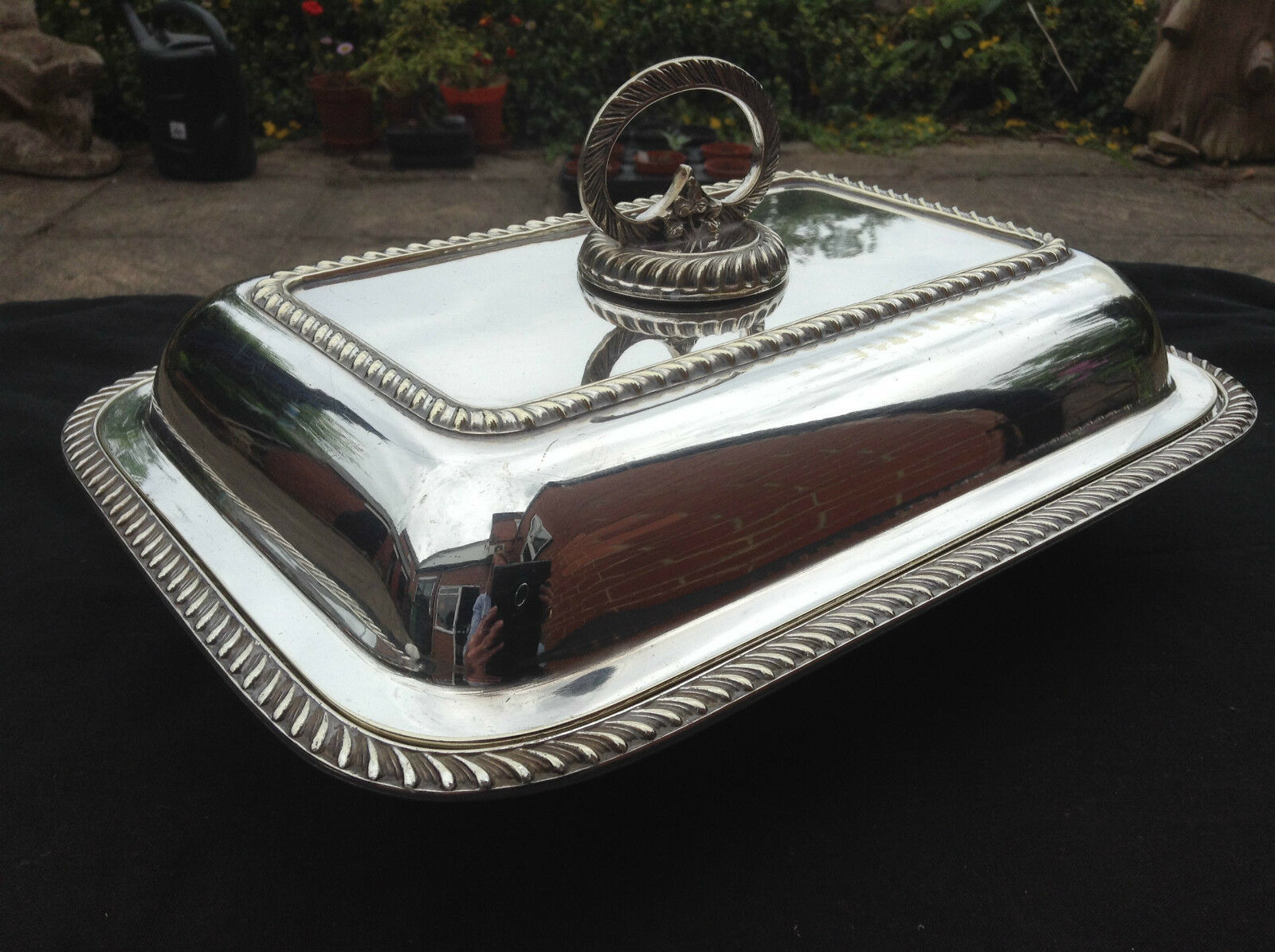 Antique Silver Plate Serving Dish Lid & Removable Handle ...