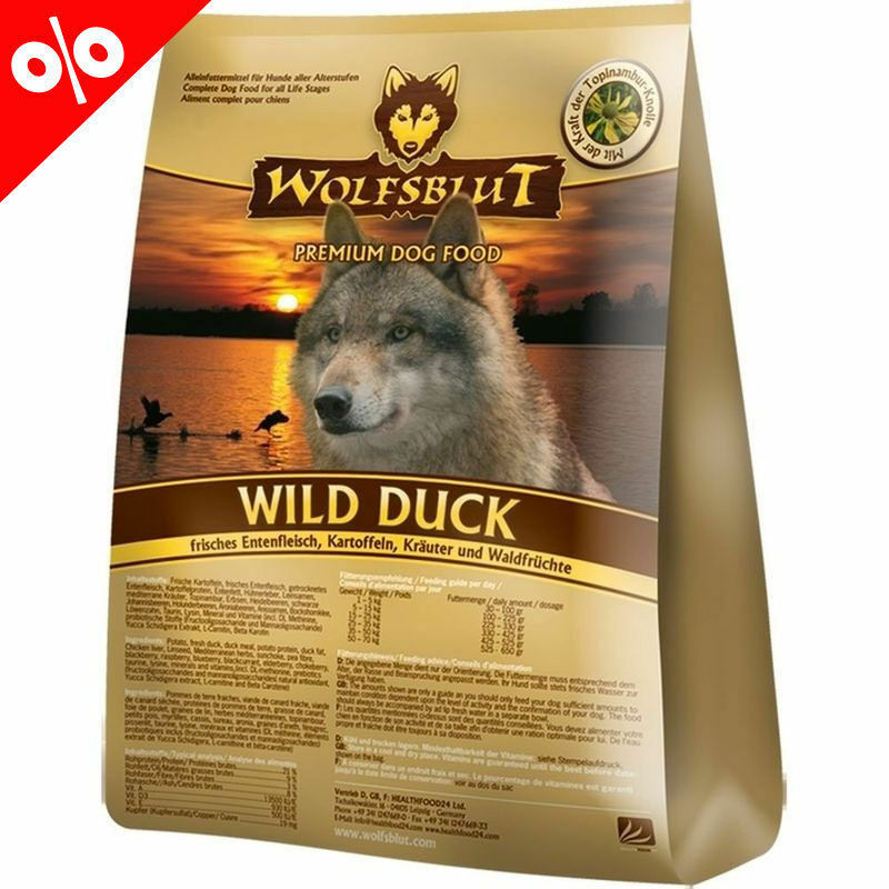 wolfsblut wild duck 15 kg hundefutter mit entenfleisch. Black Bedroom Furniture Sets. Home Design Ideas