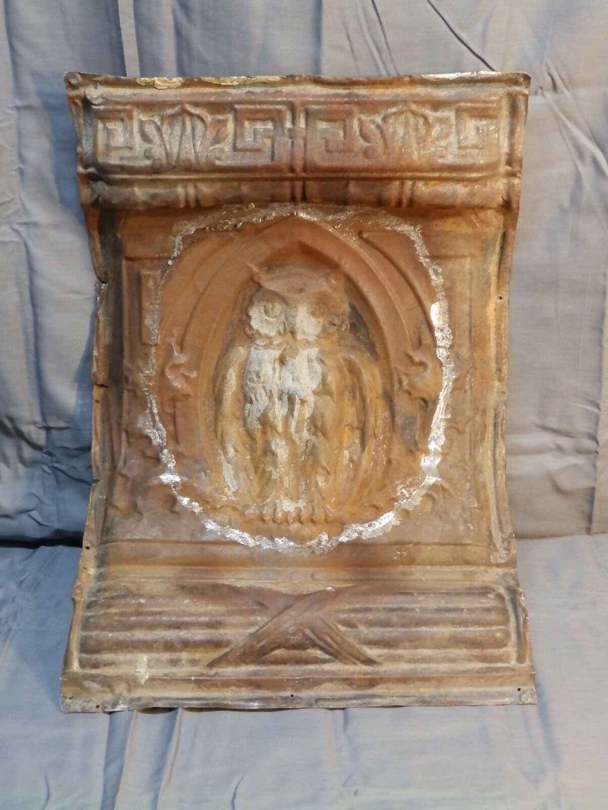 Rare Antique Tin Ceiling Owl Cornice Piece Old Vintage Architectural