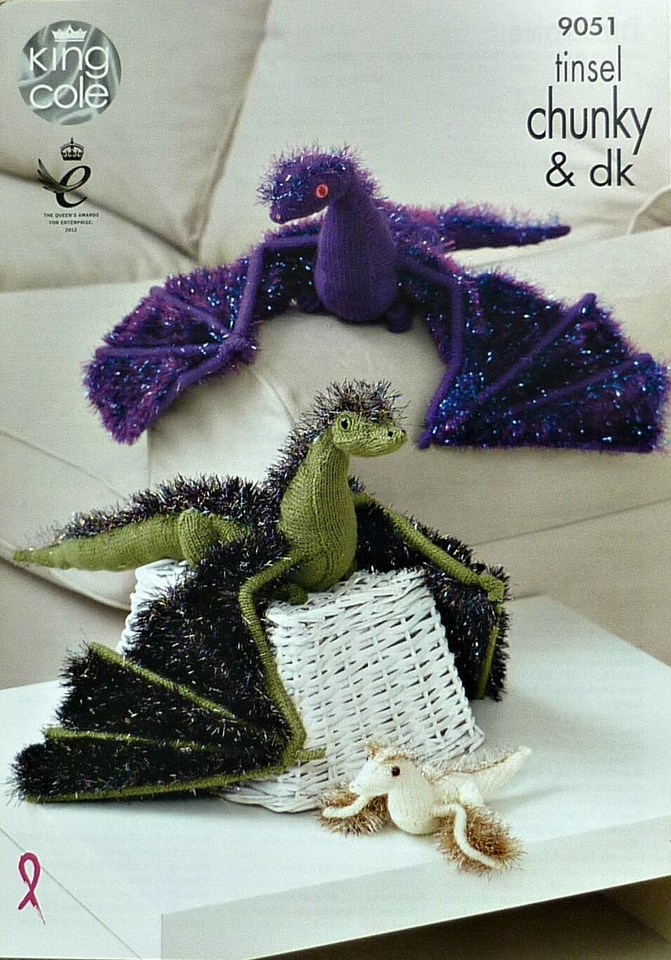 KNITTING PATTERN TINSEL Dragons Knitted Toys 2 sizes Chunky King ...