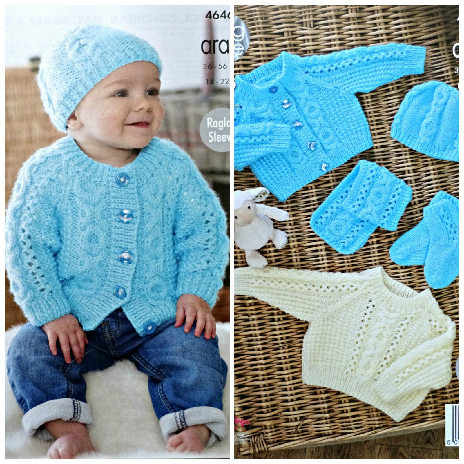 Knitting Patterns For Babies Jumpers : Baby KNITTING PATTERN Babies Cable Cardigan Jumper Scarf& Hat Aran KingCo...