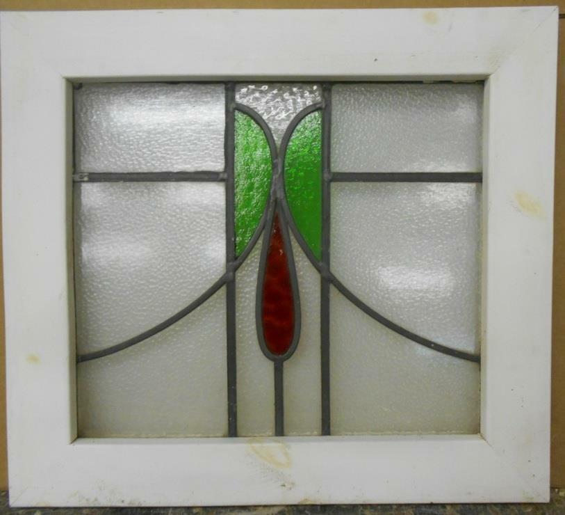 """OLD ENGLISH LEADED STAINED GLASS WINDOW Floral Droop Design 21.25"""" x 19"""""""