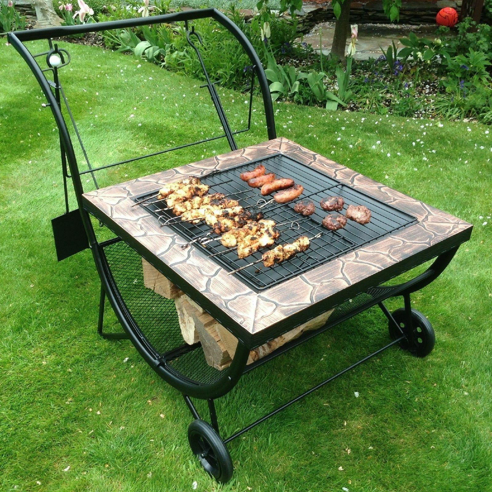 large garden bbq grill rack fire pit patio heater log charcoal brazier barbecue. Black Bedroom Furniture Sets. Home Design Ideas