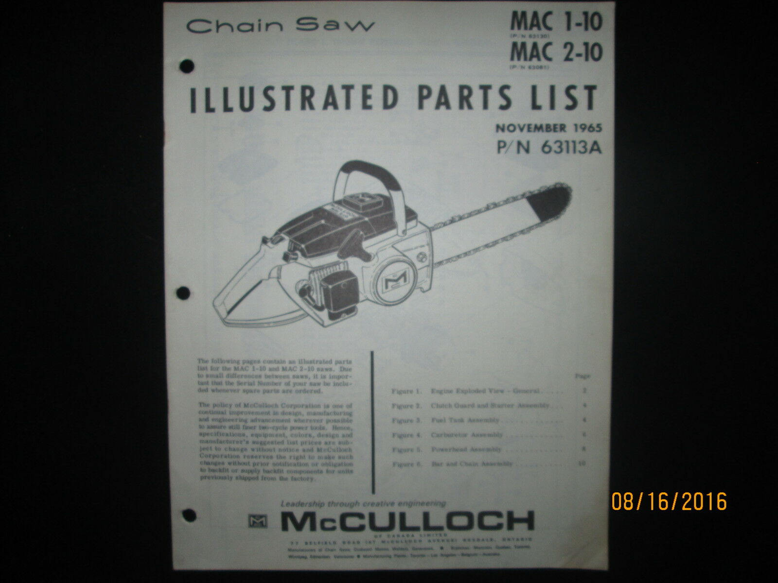 McCULLOCH CHAIN SAW MAC 1-10 & Mac 2-10 Parts List Book Manual 1 of 2Only 1  available ...