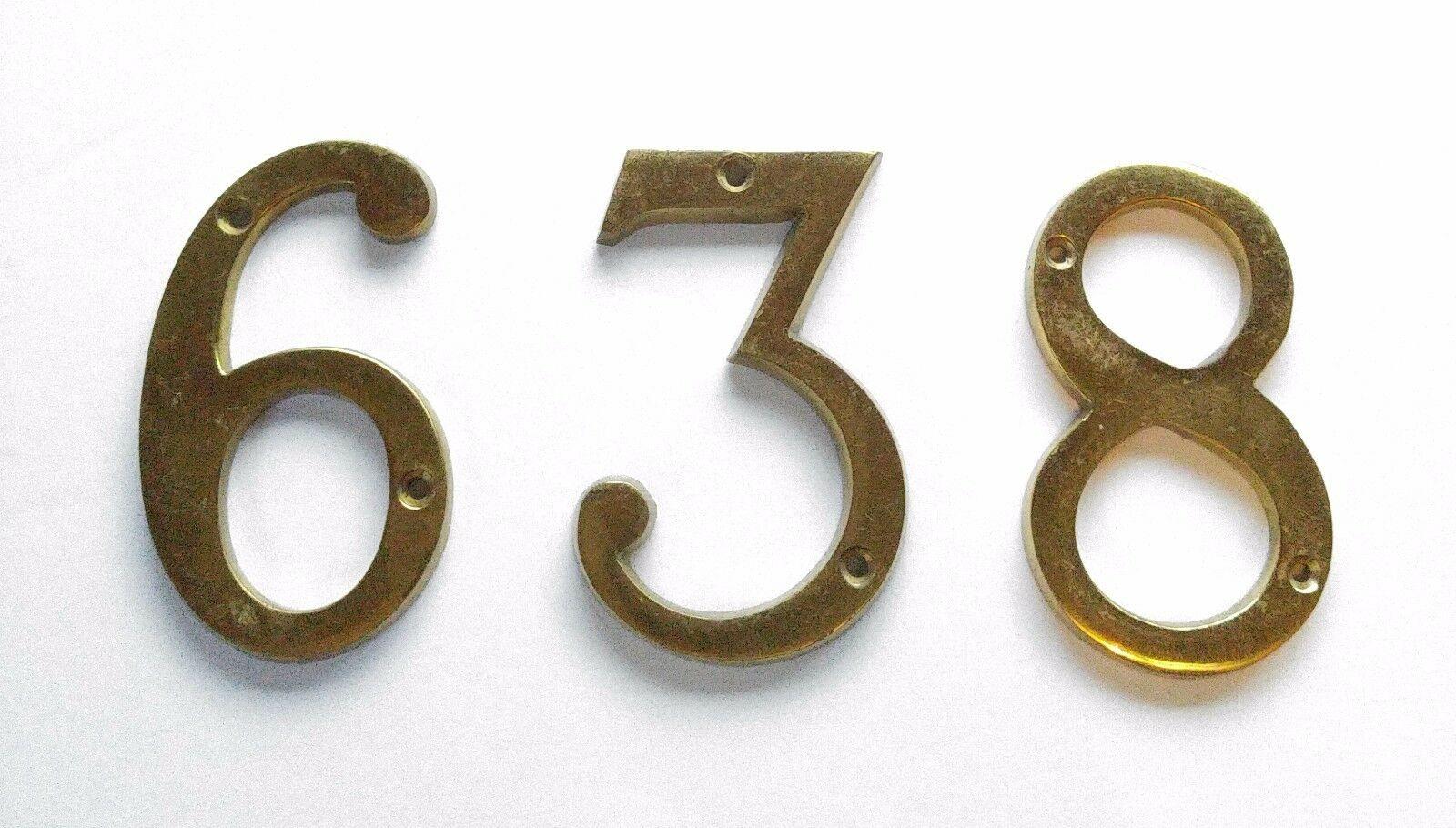 Vintage Mid-Century House Numbers #3 #6 #8 Solid Brass
