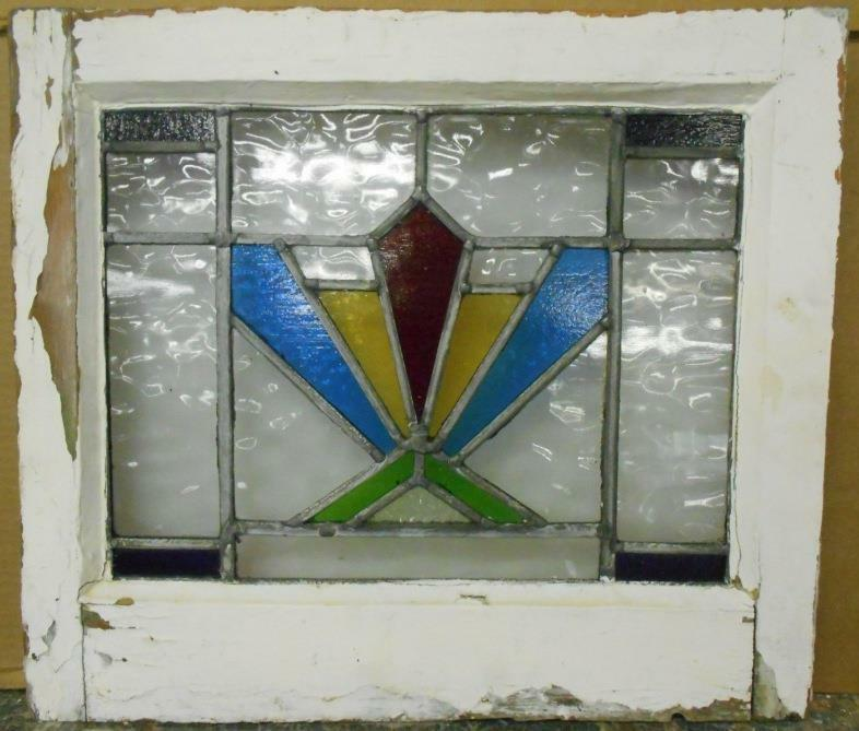 """OLD ENGLISH LEADED STAINED GLASS WINDOW Colorful Burst Design 21"""" x 16.5"""""""