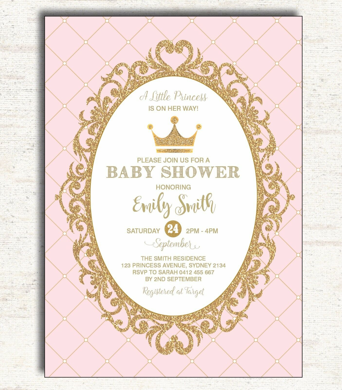 pink gold baby shower invitation princess party invite glitter crown