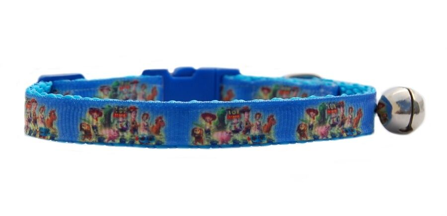 """Blue Buzz Woody    """" Toy Story""""   safety kitten cat collar 3 sizes"""