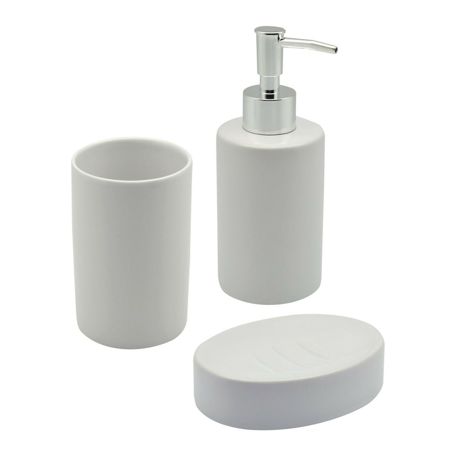 White ceramic bathroom set including soap dispenser dish for White bathroom tumbler