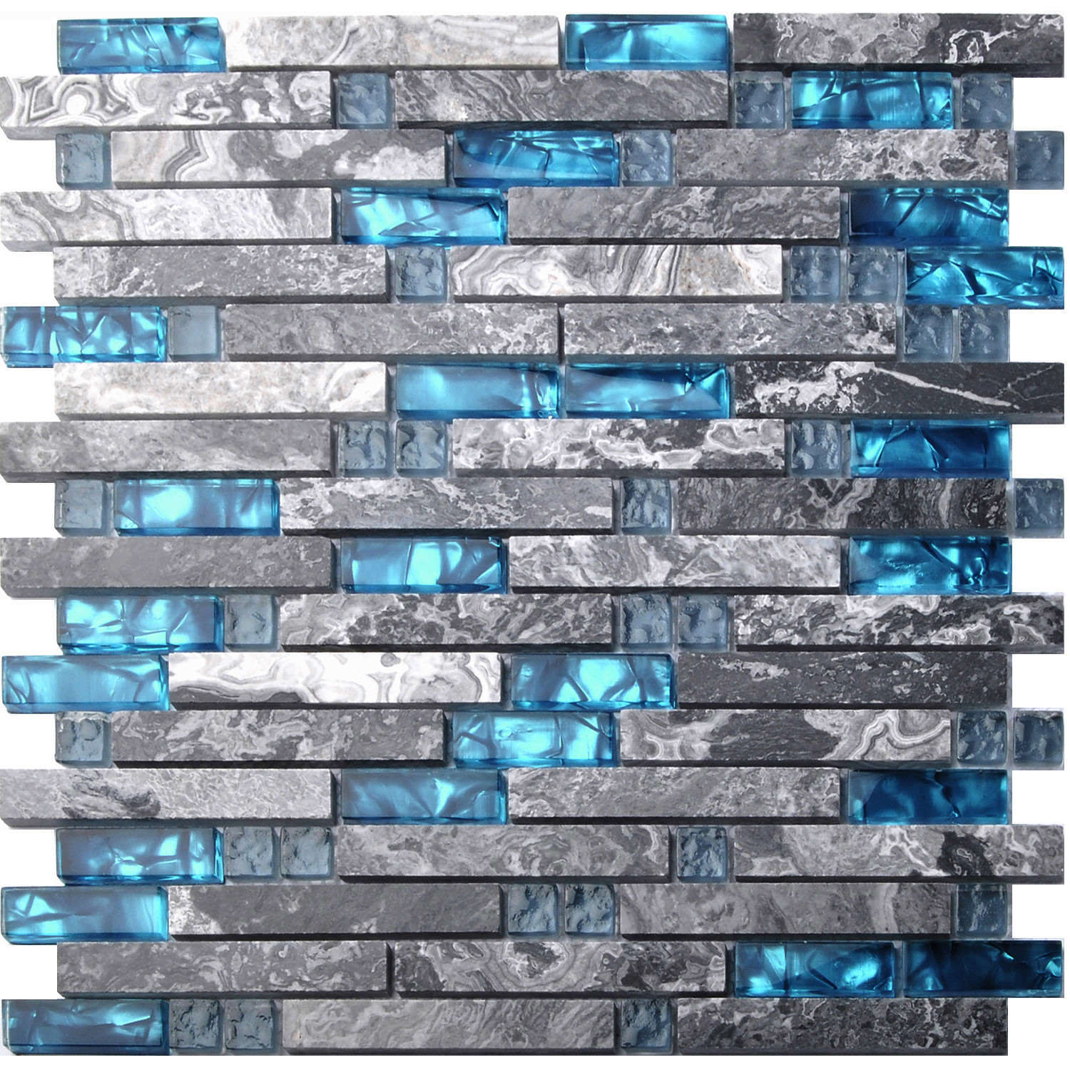 Home building glass tiles wall interlocking gray marble blue sea backsplash tile