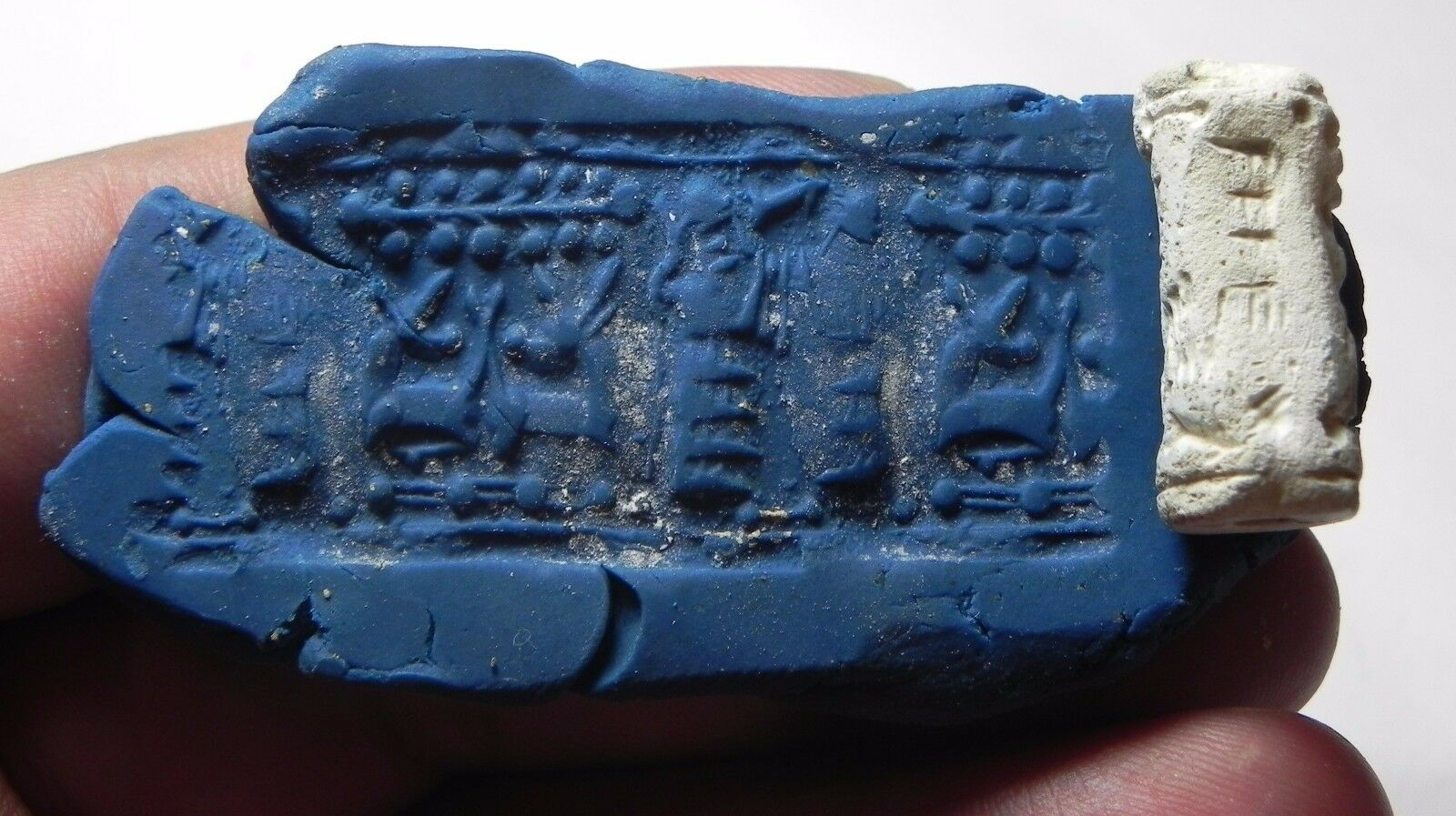 Zurqieh -Af718- Ancient Canaanite Inscribed Stone Cylinder Seal.1700 - 1550 B.c