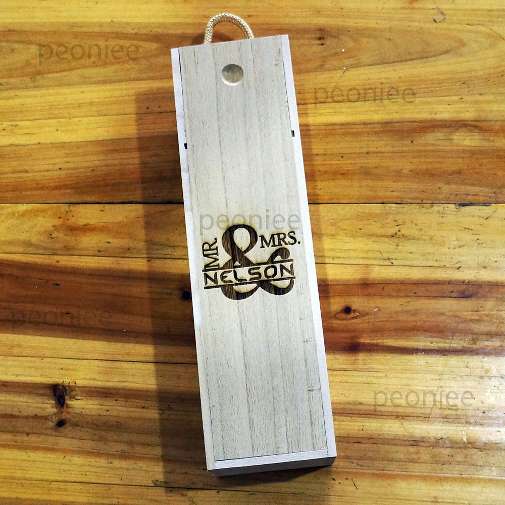 PERSONALIZED Engraving Bottle Wooden Wine Box Wedding Groomsman Bridesmaid Gift