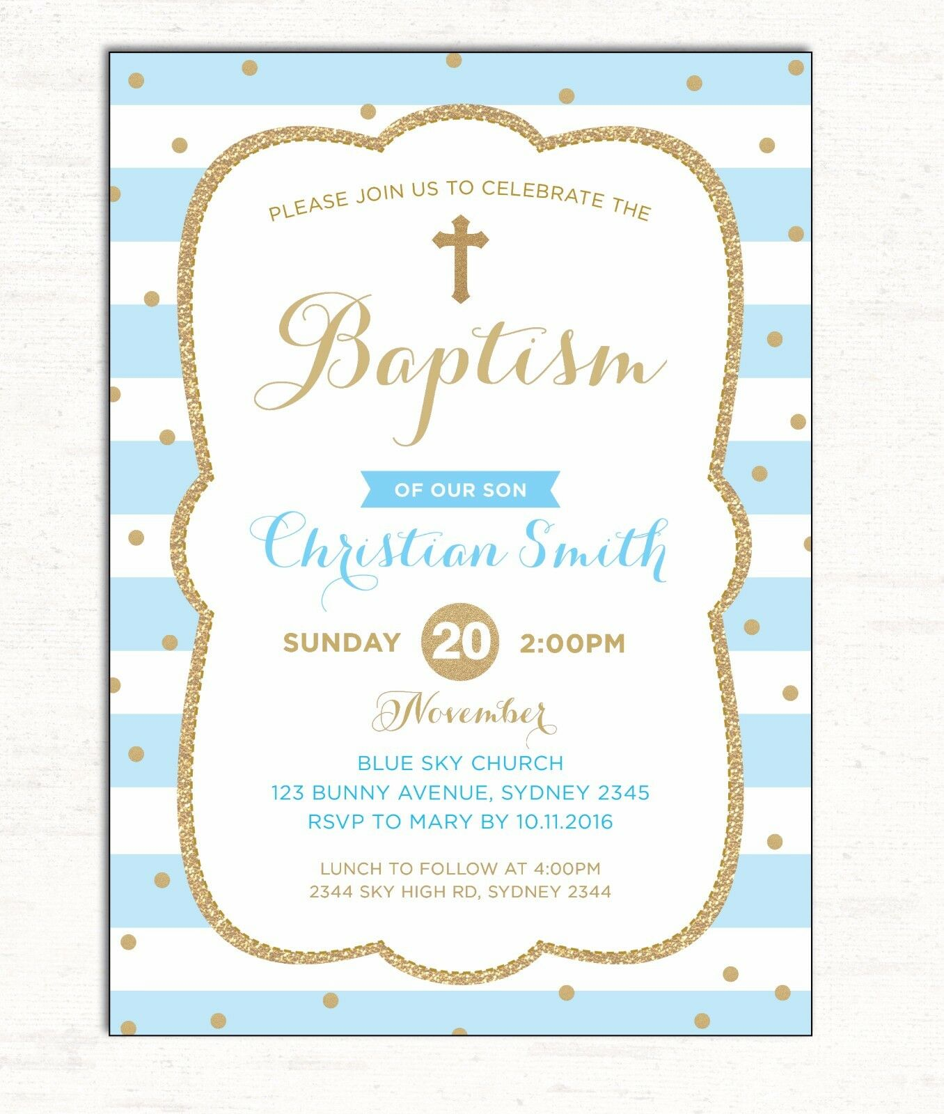 BOY BAPTISM INVITATION Blue Gold Christening Invite Christian First ...