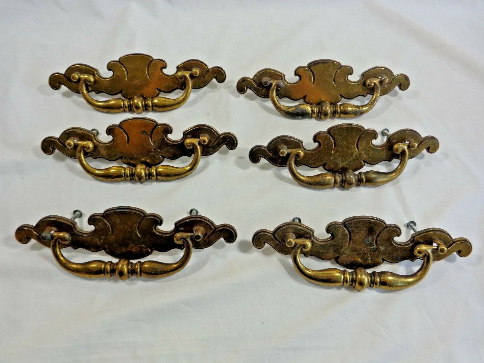 "Vintage Brass Drawer Pulls 8"" SET OF 6 Flip Up Handle B199-0 with Screws"