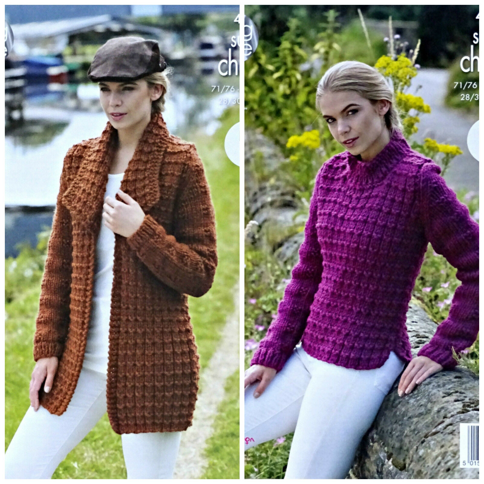 KNITTING PATTERN Ladies Easy Knit Textured Coat & Jumper Super Chunky 470...
